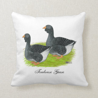 Toulouse Dewlap Geese Throw Pillow