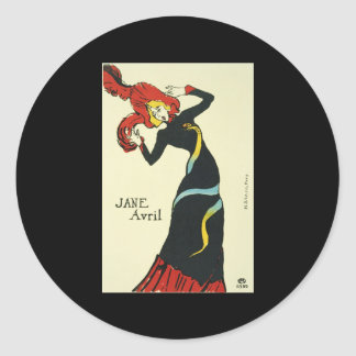 Toulouse-Lautrec Jane Avril Classic Round Sticker