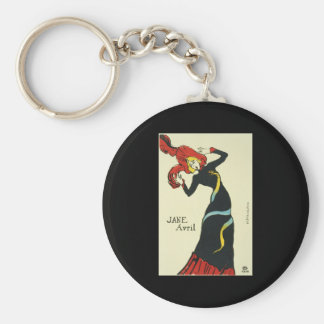 Toulouse-Lautrec Jane Avril Basic Round Button Keychain