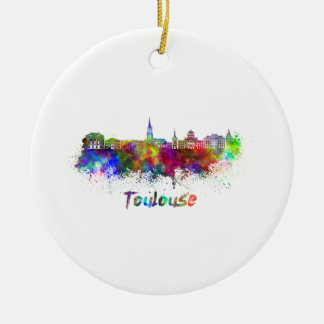 Toulouse skyline in watercolor ceramic ornament