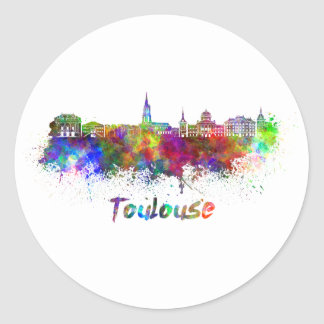 Toulouse skyline in watercolor classic round sticker
