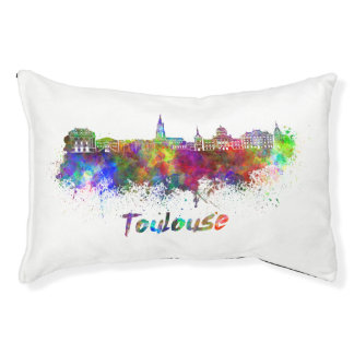 Toulouse skyline in watercolor pet bed
