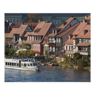 Tour boat in Little Venice and River Regnitz Poster