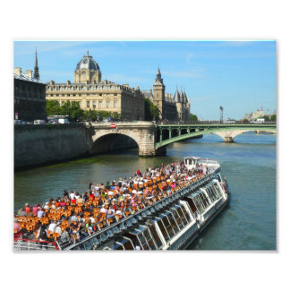 Tour Boat on the Seine River in Paris Photo Print