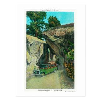 Tour Bus Under the Arch Rock on El Portal Road Postcard