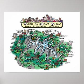 "Tour du Mont Blanc cartoon map - poster 20"" x 16"""