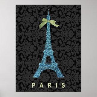 Tour Eiffel bleu dans le scintillement de faux Affiches
