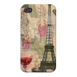 Tour Eiffel chic minable de Paris et vin rouge Étuis iPhone 4