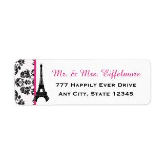 Tour Eiffel de damassé de roses indien Étiquettes D'adresse Retour