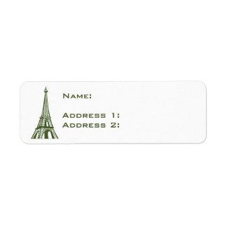 Tour Eiffel de l'Europe de voyage Étiquette D'adresse Retour