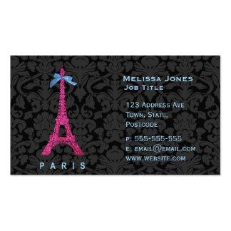 Tour Eiffel de roses indien dans le scintillement Carte De Visite Standard