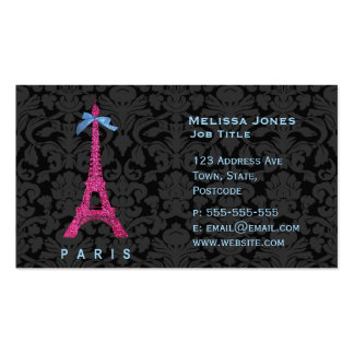 Tour Eiffel de roses indien dans le scintillement  Modèle De Carte De Visite