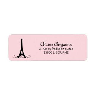Tour Eiffel rose de Paris Étiquettes D'adresse Retour