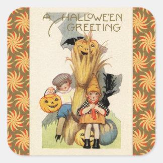 Tour vintage ou Treaters de Halloween Stickers Carrés