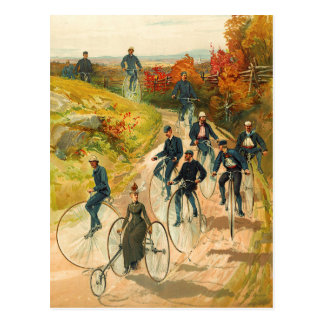 Touring the Countryside on High Wheelers Postcard