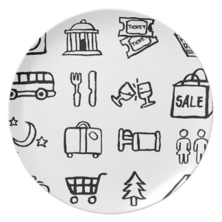 Tourism and Travel Icons Plate