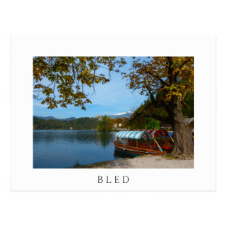 Tourist boats in Lake Bled in autumn Postcard
