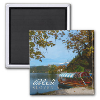 Tourist boats in Lake Bled in autumn Square Magnet