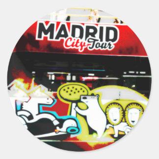 Tourist bus of Madrid (Spain) Round Sticker