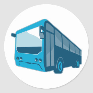 tourist shuttle bus coach retro round sticker