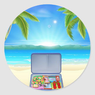 Tourist Suitcase on Tropical Beach Round Sticker