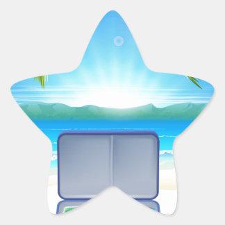 Tourist Suitcase on Tropical Beach Star Sticker