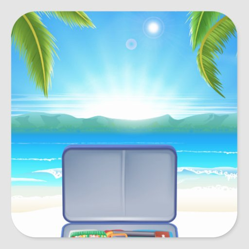 Tourist Suitcase on Tropical Beach Square Sticker