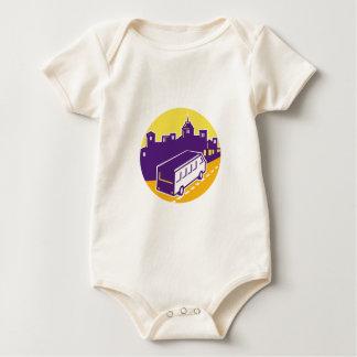 Tourist Van City Cityscape Circle Retro Baby Bodysuit