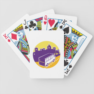 Tourist Van City Cityscape Circle Retro Bicycle Playing Cards