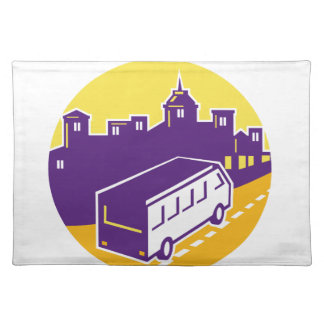 Tourist Van City Cityscape Circle Retro Placemat