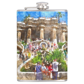 Tourists at Parc Guell in Barcelona Spain Hip Flask