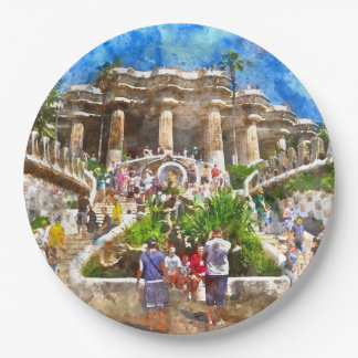 Tourists at Parc Guell in Barcelona Spain Paper Plate