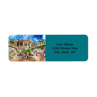 Tourists at Parc Guell in Barcelona Spain Return Address Label