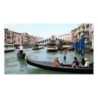 Tourists in Gondola look at Rialto Bridge, Venice Business Card