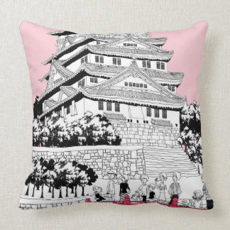 Tourists on Bridge Throw Pillow