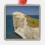 Tourists on cliff top at Tunnel Beach Christmas Tree Ornament