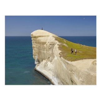 Tourists on cliff top at Tunnel Beach Postcard