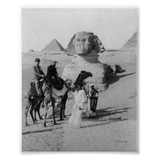 Tourists Traveling by Sphinx Poster