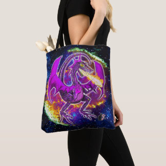 Tourmaline Cosmic Dragon Tote Bag