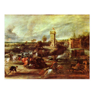 Tournament At A Castle By Rubens Peter Paul Postcard