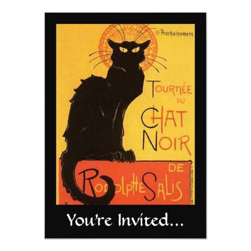 """Tournée du Chat Noir, Steinlen Black Cat Vintage 5"""" X 7"""" Invitation Card"""