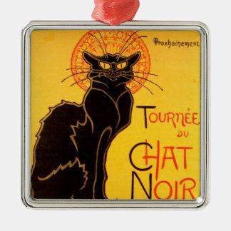 Tournée du Chat Noir - Vintage Poster Silver-Colored Square Ornament