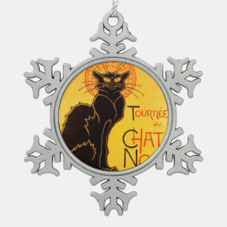 Tournée du Chat Noir - Vintage Poster Snowflake Pewter Christmas Ornament