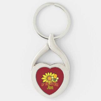 Tournesol et abeille incroyables de maman porte-clé argenté cœur torsadé