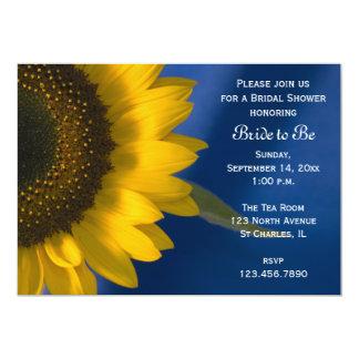 Tournesol sur la douche nuptiale bleue carton d'invitation  12,7 cm x 17,78 cm