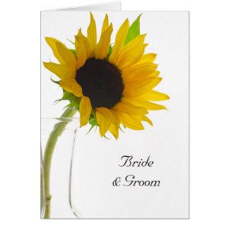Tournesol sur le faire-part de mariage blanc carte de vœux
