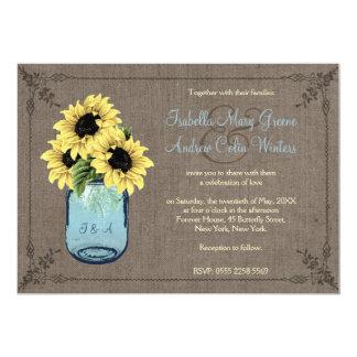 Tournesols de pot de maçon carton d'invitation  12,7 cm x 17,78 cm