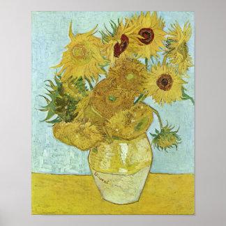 Tournesols en beaux-arts de Van Gogh du vase Poster