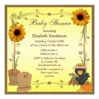 Tournesols, huche et corneille de baby shower de invitations personnalisées