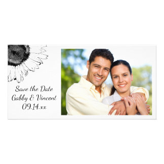 Tournesols noirs et blancs épousant des économies cartes de vœux avec photo